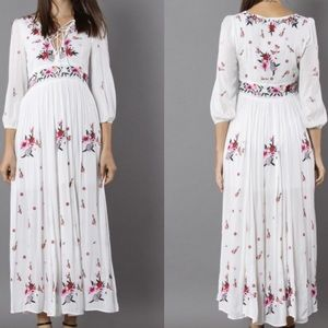 Chicwish Empire Waist Embroidered Dress Size XL